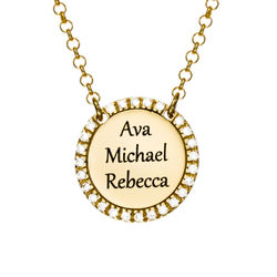 Personalized Round Cubic Zirconia Necklace in Gold Plating product photo