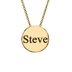 Custom Thick Disc Necklace in Gold Plating product photo