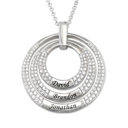 Engraved Circle Necklace for Mom in Sterling Silver product photo