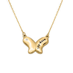 10k Gold Butterfly Necklace for Girls with Cubic Zirconia product photo