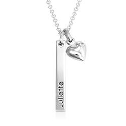Name Bar Necklace for Girls with Heart Pendant in Sterling Silver product photo