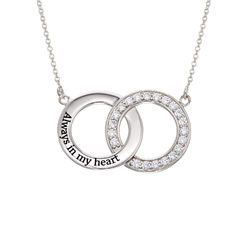 Cubic Zirconia Interlocking Circles Necklace in Sterling Silver product photo