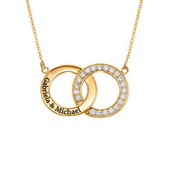 Cubic Zirconia Interlocking Circles Necklace in Gold Plating product photo