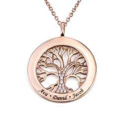 Family Tree Circle Necklace with Cubic Zirconia in Rose Gold Plating product photo