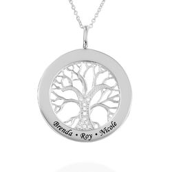 Family Tree Circle Necklace with Diamond in Sterling Silver product photo