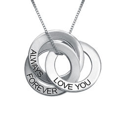 Love you Forever Russian Ring Necklace in Sterling Silver product photo