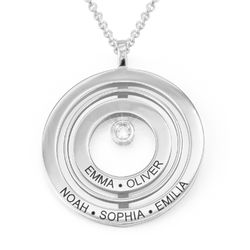 Engraved Circle of Life Necklace in Sterling Silver with Diamond product photo
