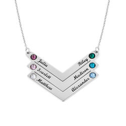 Birthstone Personalized Family Necklace in Sterling Silver product photo