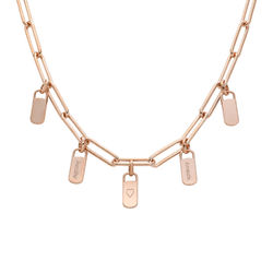 Chain Link Necklace with Custom Charms in Rose Gold Plating product photo
