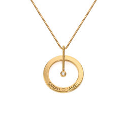 Personalized Circle Necklace with Diamond in 18K Gold Plating product photo
