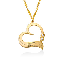 Personalized Heart Necklace in 18k Gold Plated with Diamond product photo