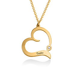 Personalized Heart Necklace in 18k Gold Vermeil with Diamond product photo