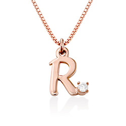 Diamond initial necklace in 18K Rose Gold Plating product photo