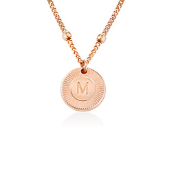 Mini Rayos Initial Necklace in 18k Rose Gold Plating product photo