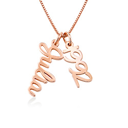 Vertical Name Necklace in Cursive in Rose Gold Plated product photo