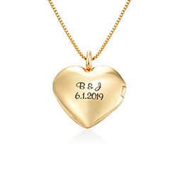 Heart Pendant Necklace with Engraving in Gold Plated product photo