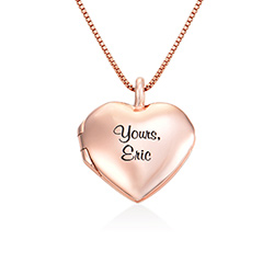 Heart Pendant Necklace with Engraving in Rose Gold Plated product photo