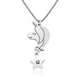Girls Unicorn Necklace in Sterling Silver product photo