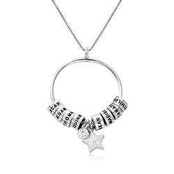 Large Linda Circle Pendant Necklace in Sterling Silver with Diamond product photo