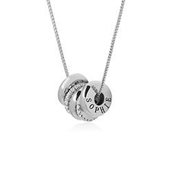 Candy Necklace with Custom Engraved Beads in Sterling Silver product photo