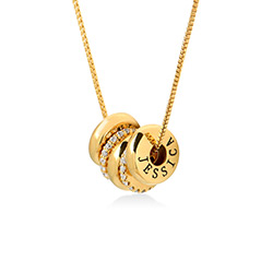 Custom Engraved Beads Necklace in Gold Vermeil product photo