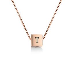 Blair Initial Cube Necklace in Rose Gold Plating product photo