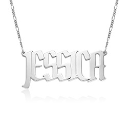 Large Custom Name Necklace in Sterling Silver product photo