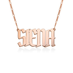 Large Custom Name Necklace in Rose Gold Plating product photo