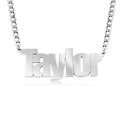Large Custom Name Necklace with Gourmet Chain in Sterling Silver product photo
