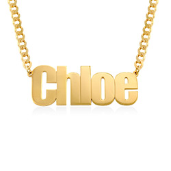 Large Custom Name Necklace with Gourmet Chain in Gold Vermeil product photo