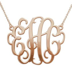 XXL Large Monogram Necklace in 18K Rose Gold Plated product photo