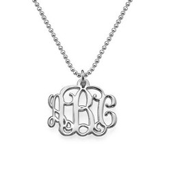 Small Monogram Necklace in Silver product photo