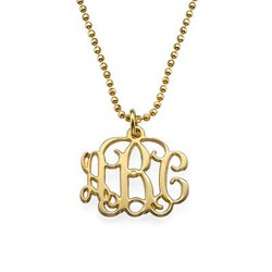 Small Monogram Necklace in 18k Gold Plating product photo