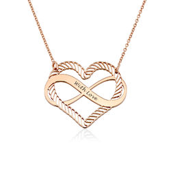 Engraved Heart Infinity Necklace in Rose Gold Plating product photo