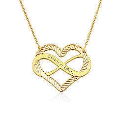Engraved Heart Infinity Necklace in Gold Vermeil product photo