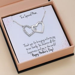 Double Heart Necklace in Sterling Silver with Prewritten Gift Note product photo