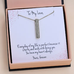 Heart shape 3D Bar in Sterling Silver with Prewritten Gift Note product photo