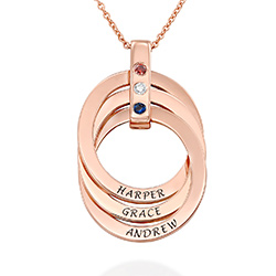 Russian Ring Necklace with Birthstones in Rose Gold Plating product photo
