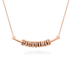 Smile Bar Necklace with Custom Beads in Rose Gold Plating product photo
