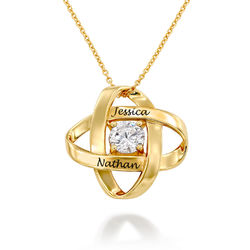 Engraved Eternal Necklace with Cubic Zirconia in Gold Vermeil product photo