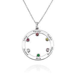 The Family Circle Necklace with Birthstones in Sterling Silver product photo