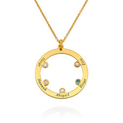 The Family Circle Necklace with Birthstones in Gold Plating product photo