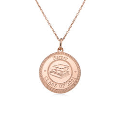 Graduation Cap Personalized Necklace in Rose Gold Plating product photo