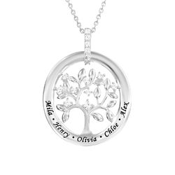 Custom Family Tree Necklace in Sterling Silver product photo