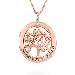 Custom Family Tree Necklace in Rose Gold Plating product photo