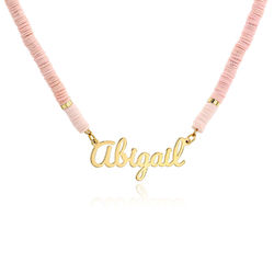 Pink Sherbert Name Necklace in Gold Plating product photo