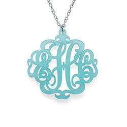 Acrylic Monogram Necklace with Closed Chain product photo