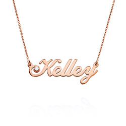 Small Classic Name Necklace with 5 Points Carats Diamond in Rose product photo