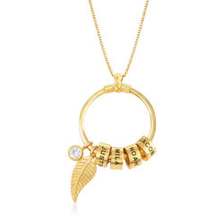 Linda Circle Pendant Necklace in Gold Plating with 1/25 CT. T.W Lab – product photo