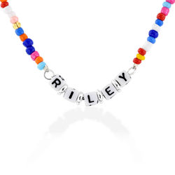 Rainbow Remix Beaded Name Necklace in Sterling Silver product photo